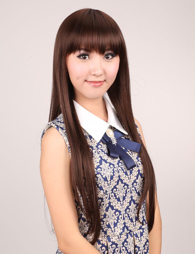齐刘海长直发气质OL型时尚女高温丝假发套