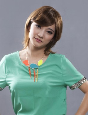 娇滴假发 中长发 直发 斜刘海 沙宣头 时尚发型女