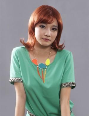 娇滴假发 中长发 微卷 可齐可斜刘海 沙宣头 时尚发型女