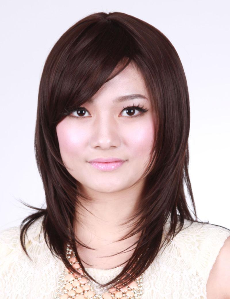 中长卷发甜美可爱型斜刘海时尚假发套