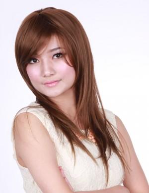 斜刘海甜美可爱型长款微卷长卷发
