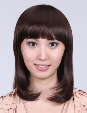 齐刘海短卷发甜美可爱型内扣梨花头中长假发