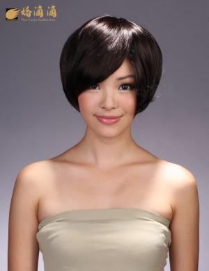 靓丽白领/干练气质斜刘海短发假发