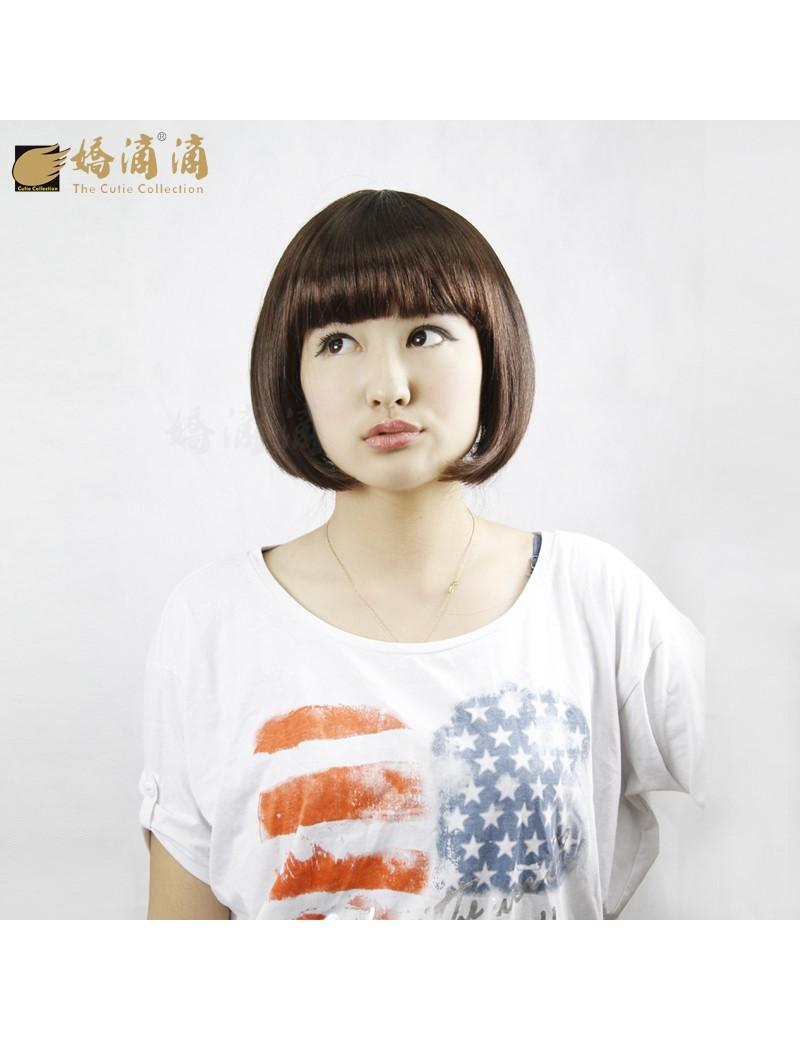 齐刘海时尚女BOBO头短发甜美可爱型假发