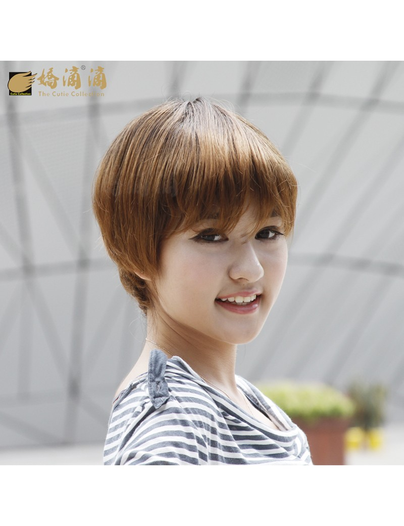 可齐可斜刘海波波头时尚女赫本短直发假发