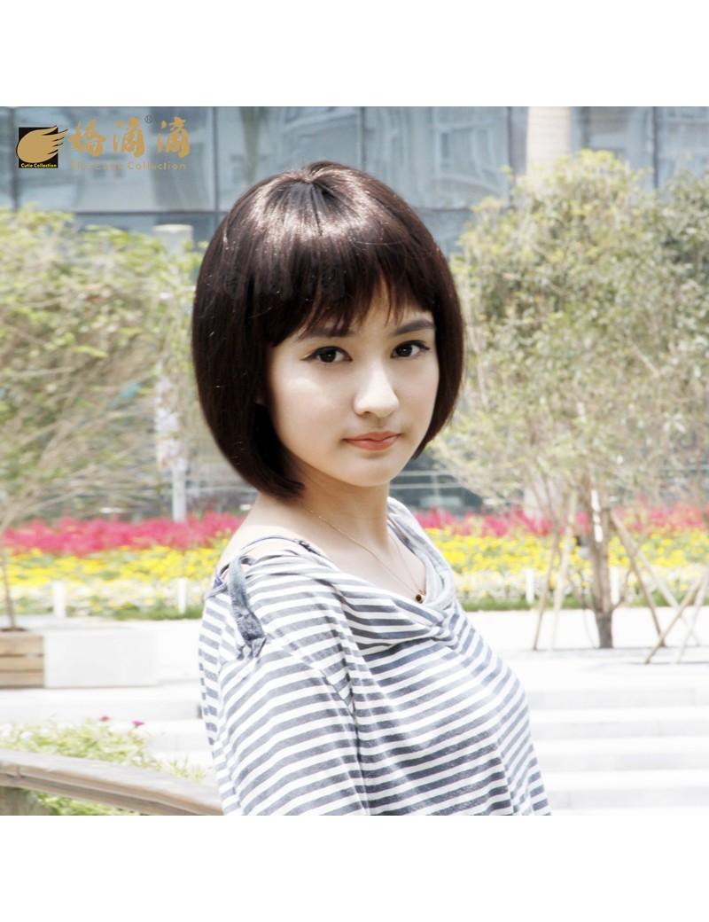 BOBO头高温丝甜美可爱型齐刘海蓬松短发