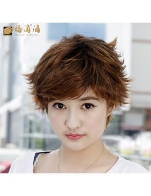 时尚女卷发外翘斜刘海高温丝短发