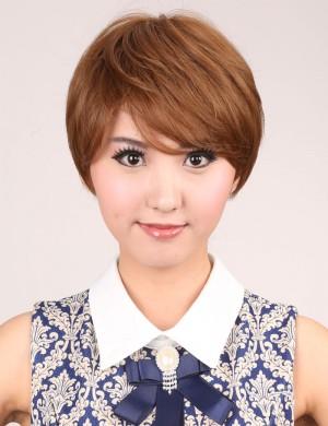 短直发蓬松斜刘海日系气质OL型时尚女高温丝假发