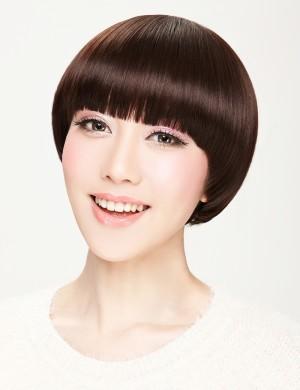帅气蘑菇头 齐刘海短直发时尚 修脸bobo头
